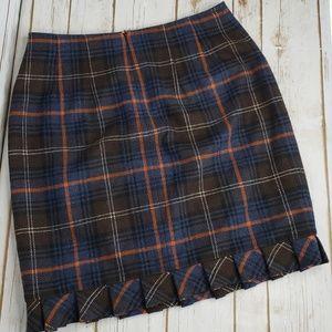 CAbi Heritage Plaid Ruffled Pencil Skirt